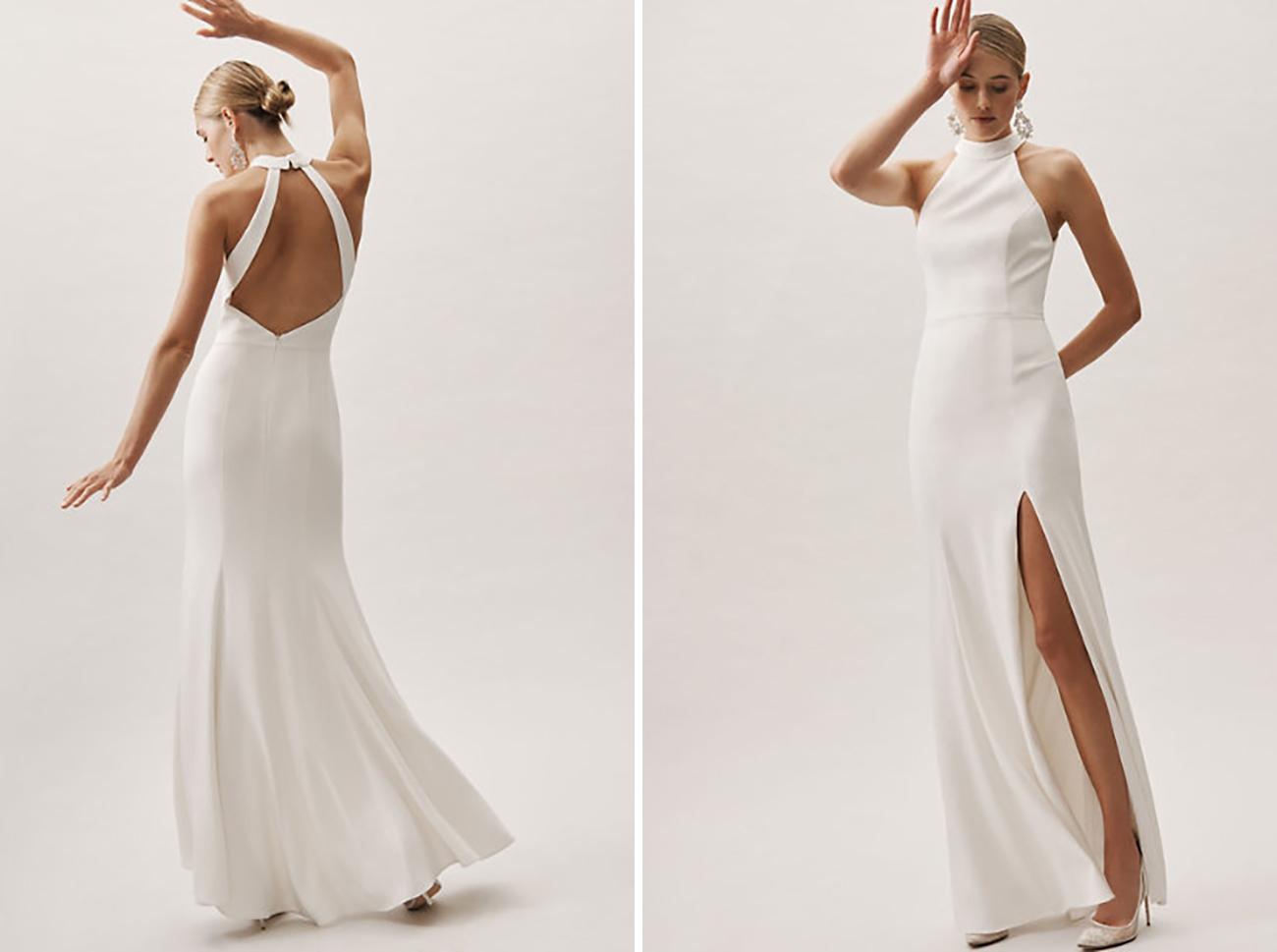 BHLDN Modern Simple Minimalistic Wedding Dress Under $800 Budget