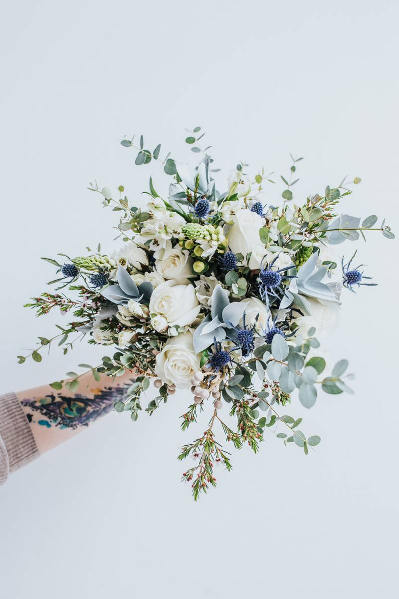 blue monochrome bouquet