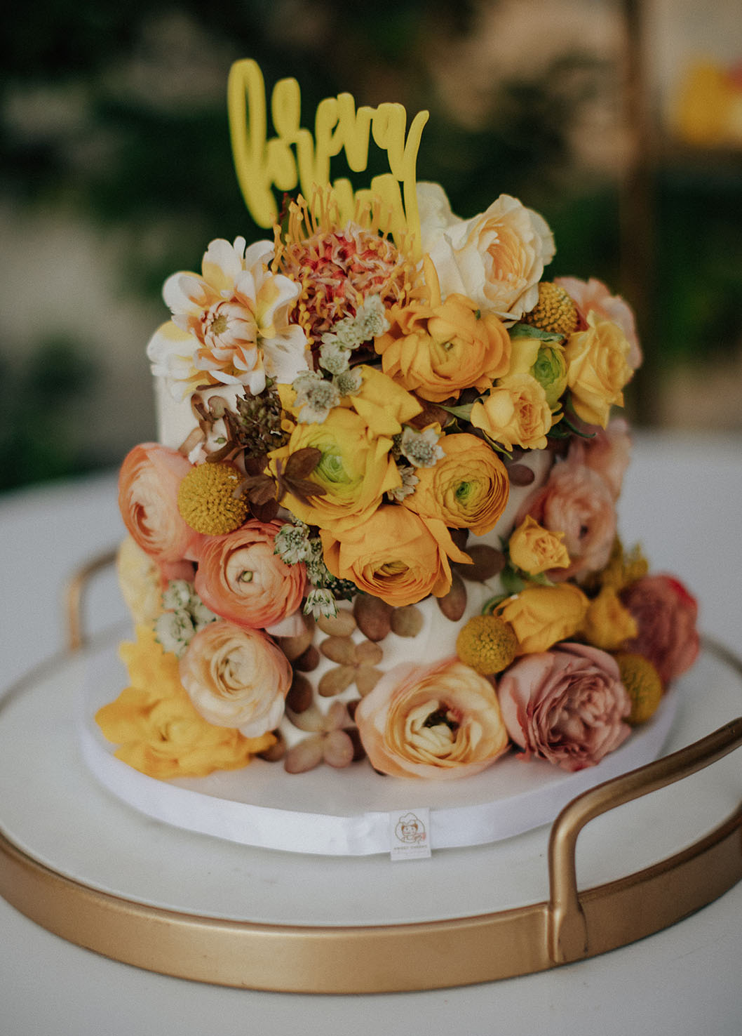 yellow floral cake