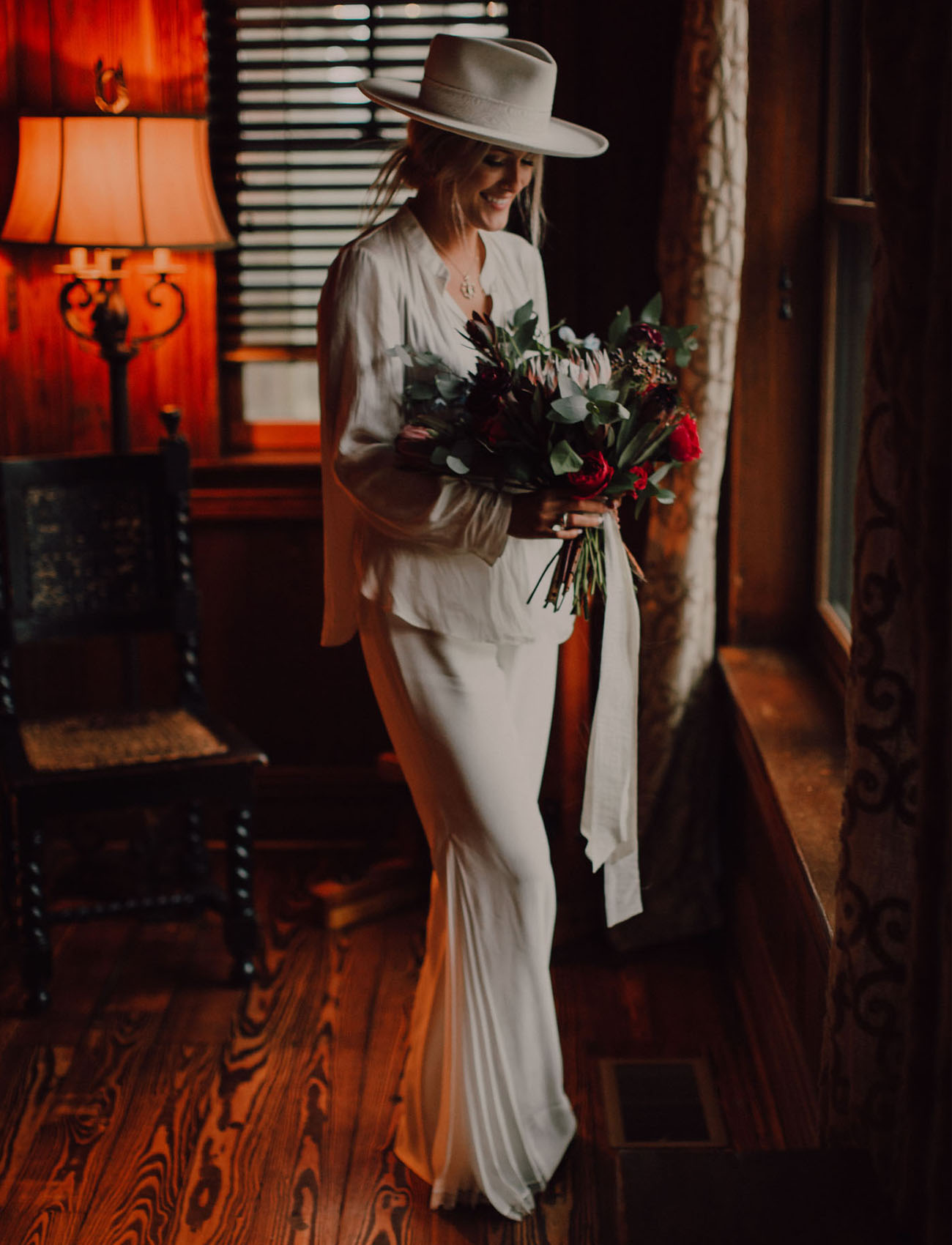 white pant suit bride