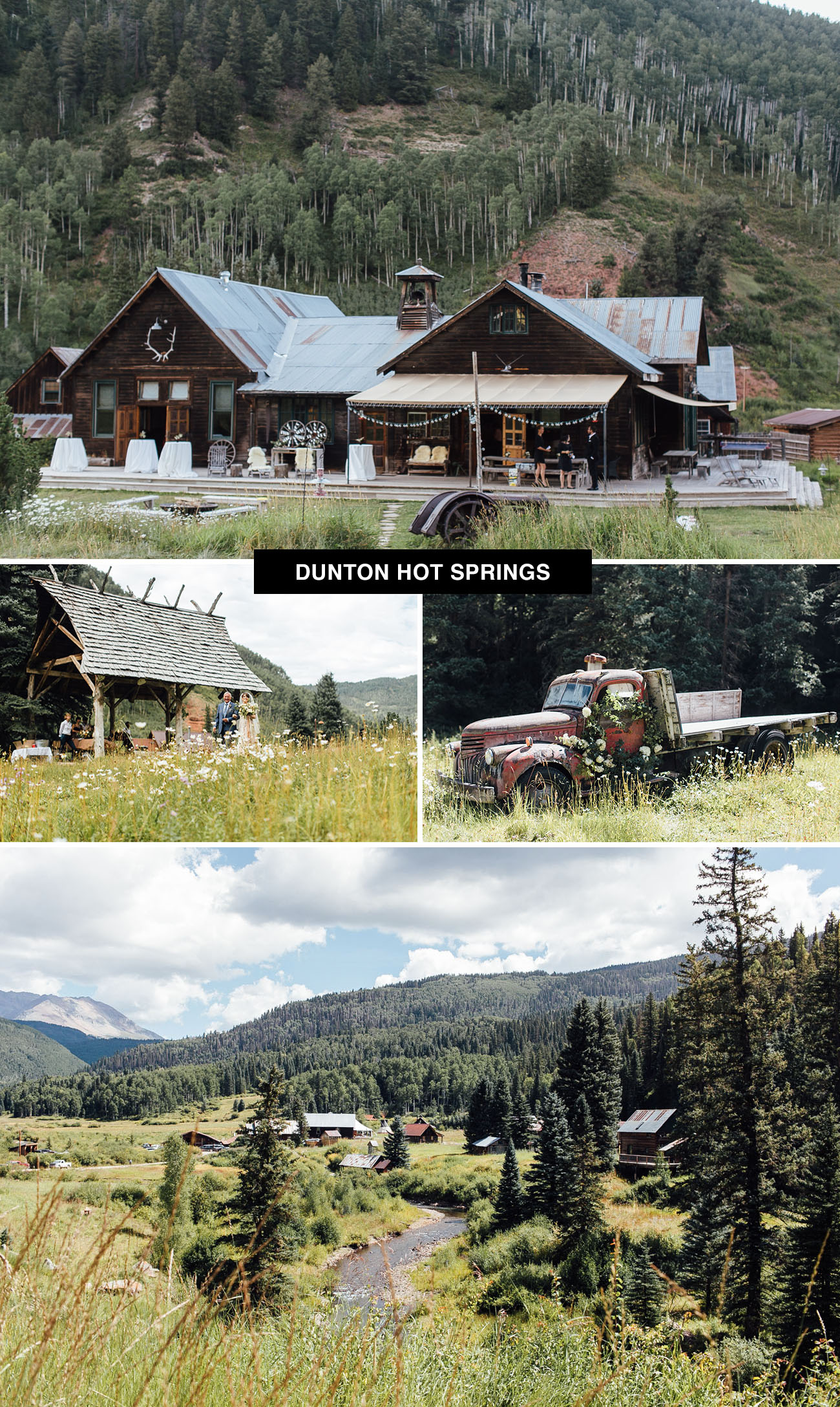 Dunton Hot Springs wedding venue in Colorada where you can take over the town for your wedding