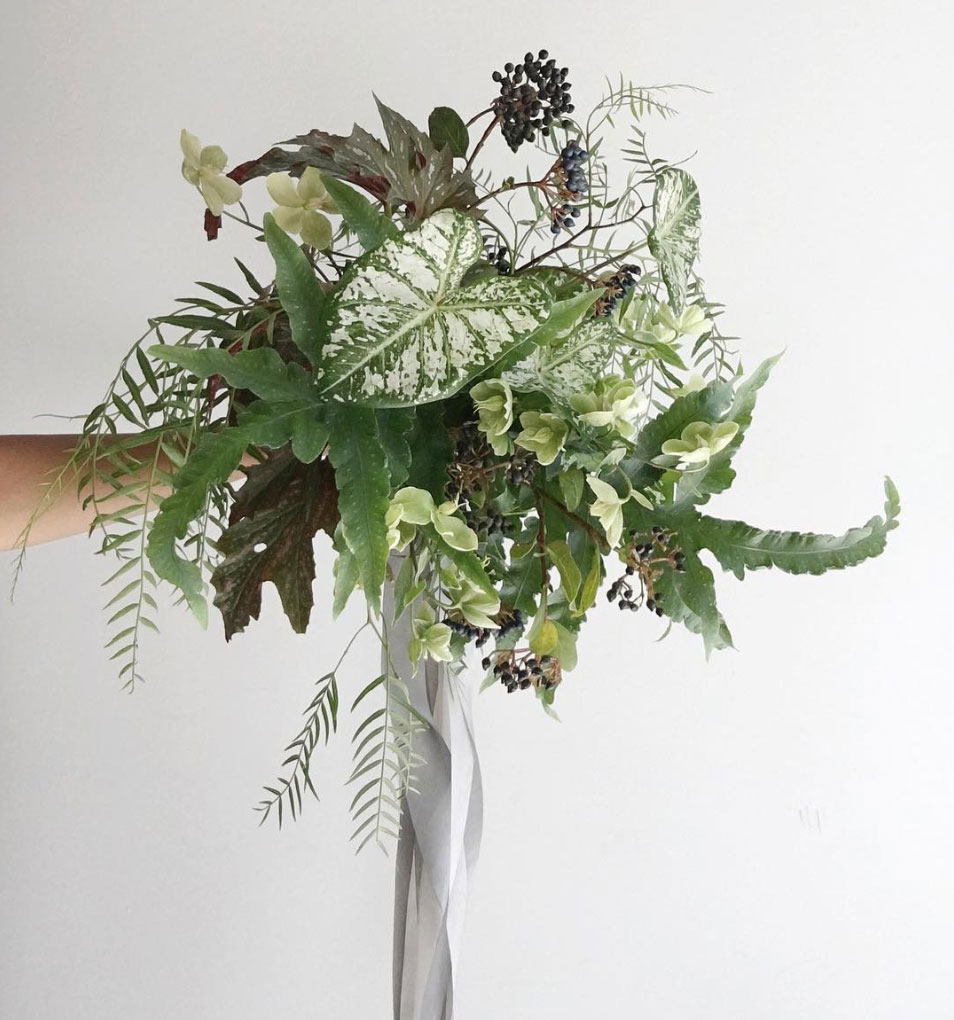 green monochrome bouquet