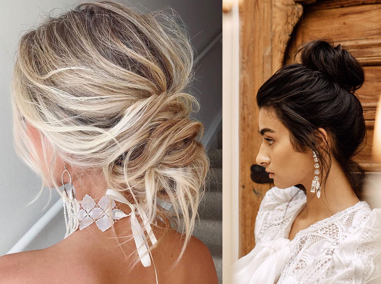 Trending Now Boho Chic Messy Bun Wedding Hairstyles Green