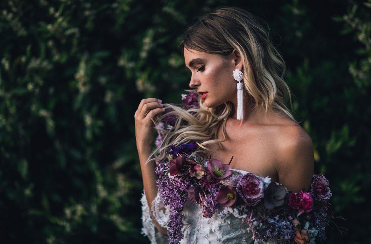 fresh flowers on dress