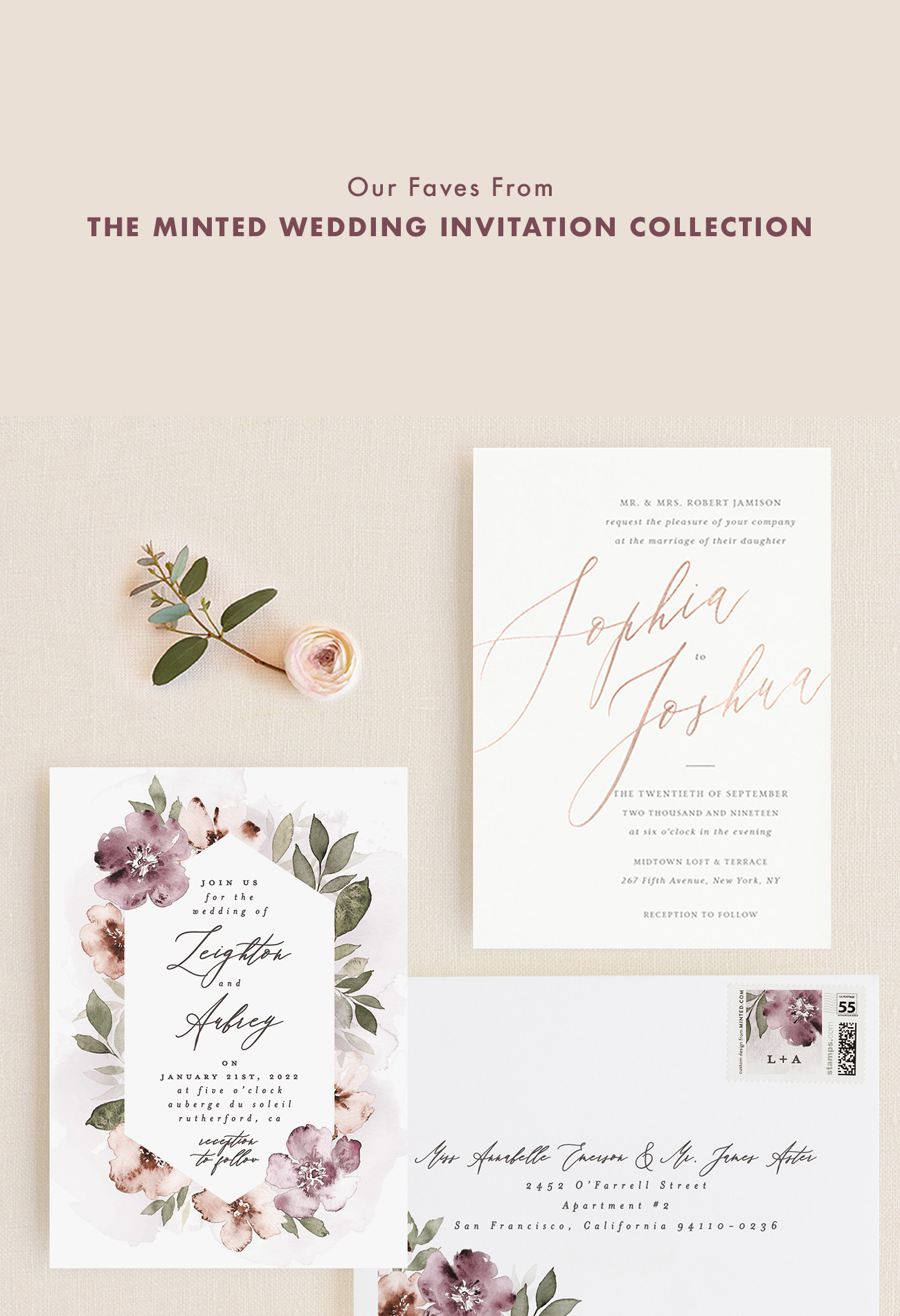 Fancifully Floral Wedding Invitations by Minted