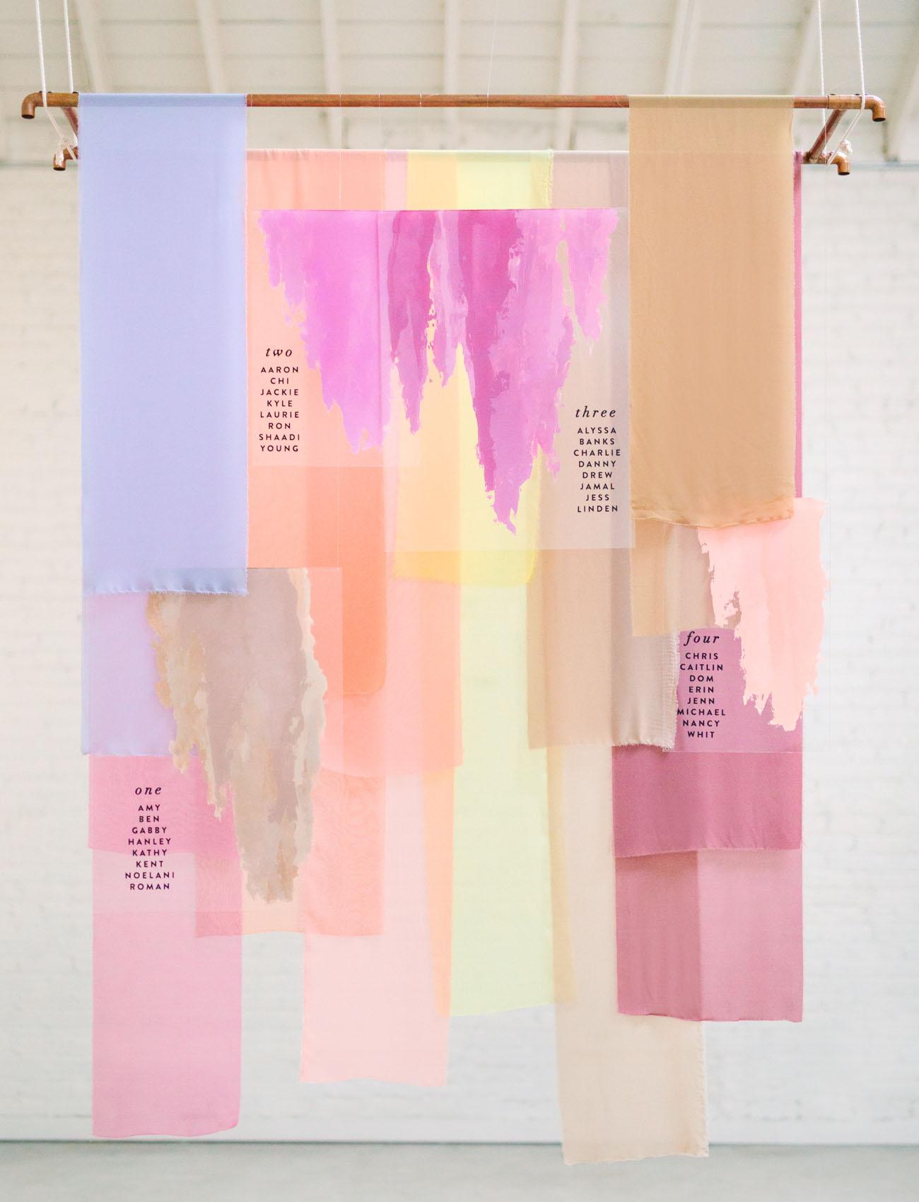 pastel acrylic seating chart