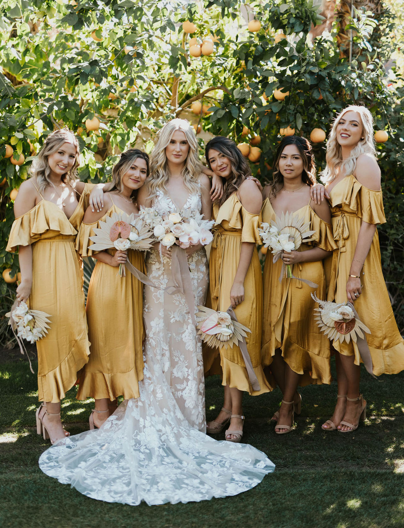 This Desert Meets Tropical Wedding in Palm Springs Brings the Mustard Yellow Hues