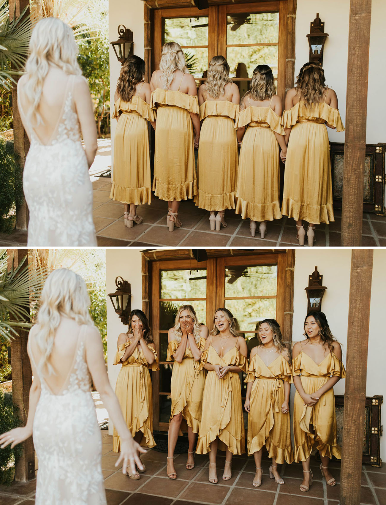 This Desert Meets Tropical Wedding In Palm Springs Brings The Mustard Yellow Hues Green Wedding Shoes