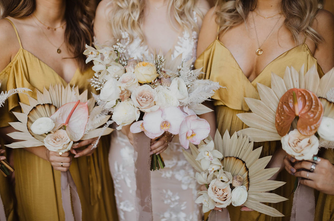 tropical fan bouquets