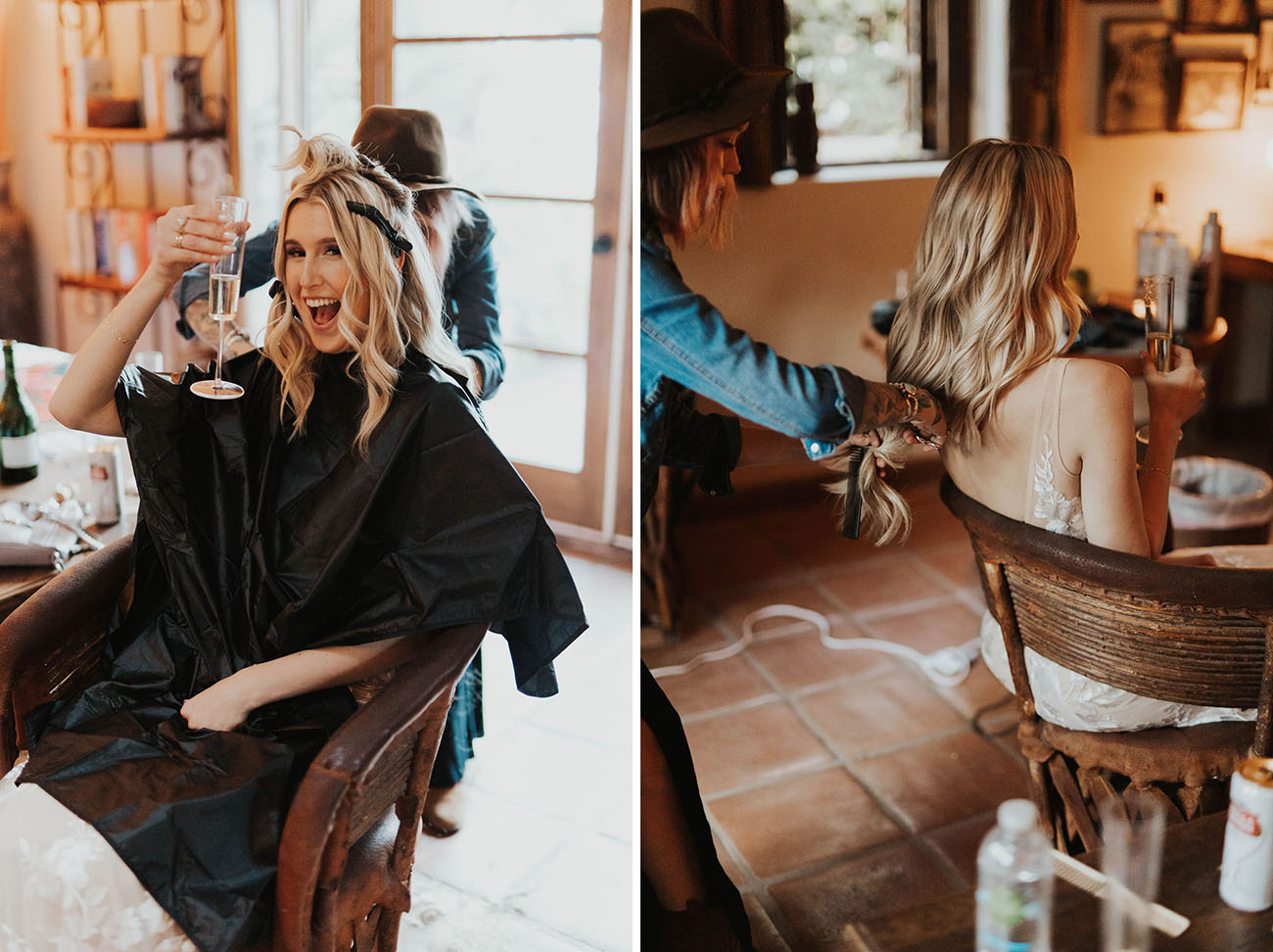 bride cuts hair during reception