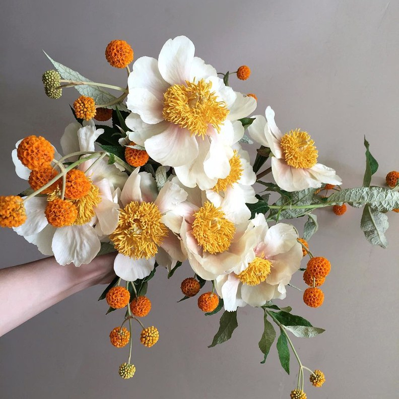 orange monochrome bouquet