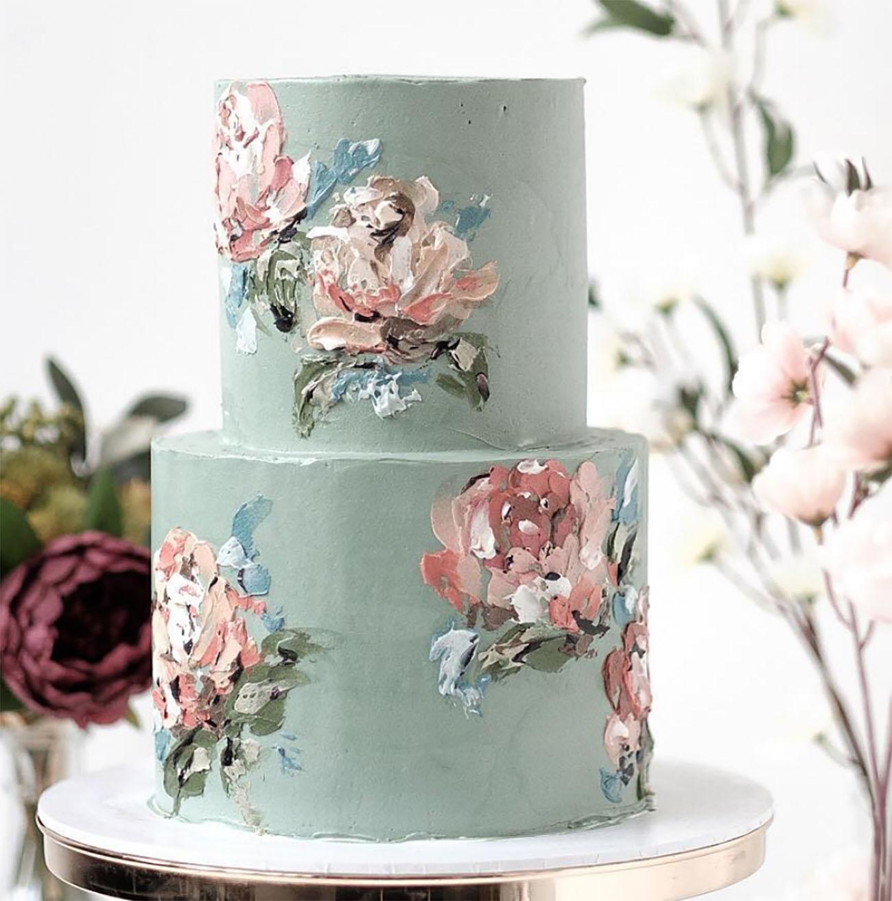 seafoam impressionist cake
