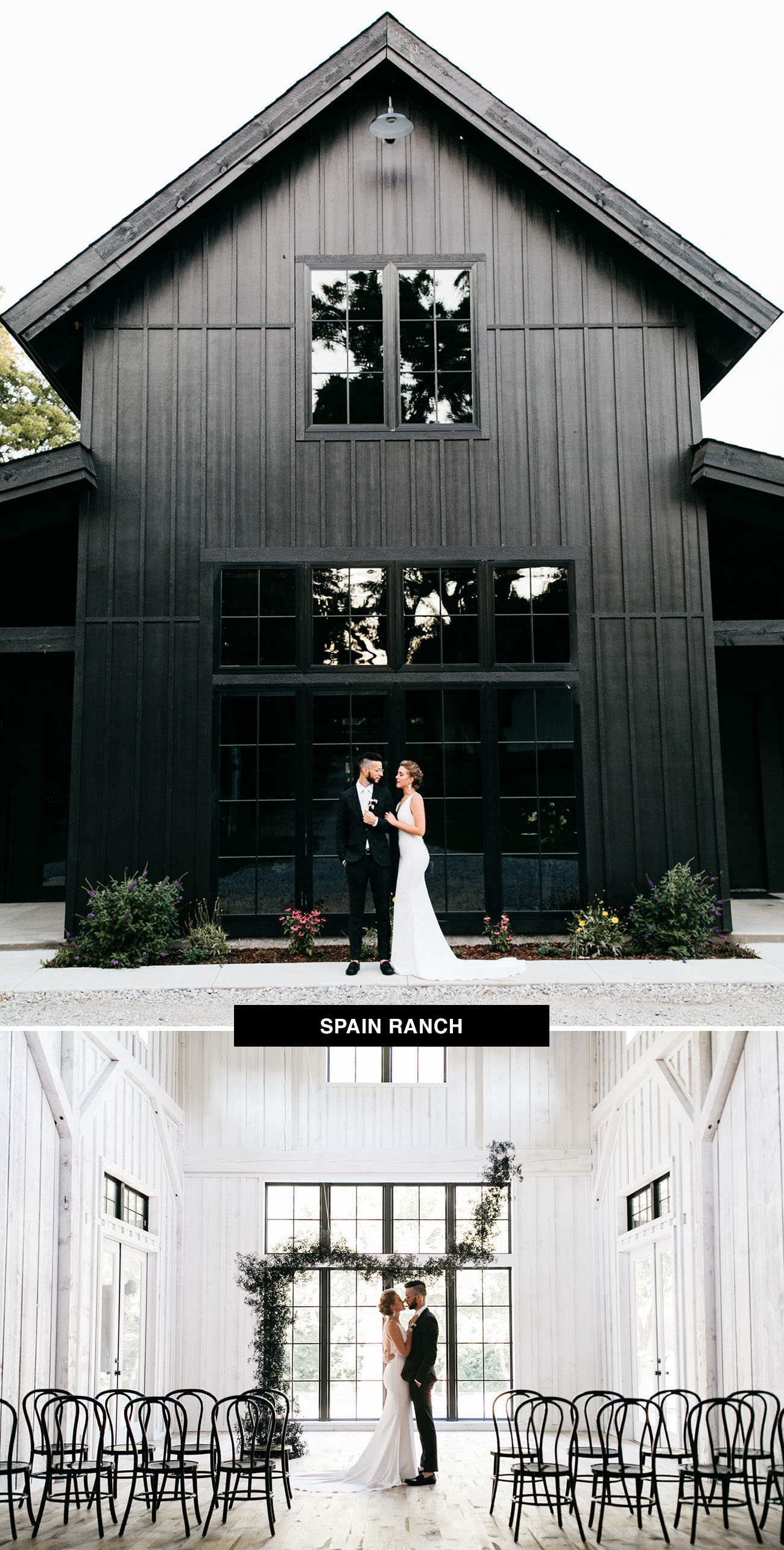 Spain Ranch wedding venue in Oklahoma gives you the option of getting married in a black barn or a white barn