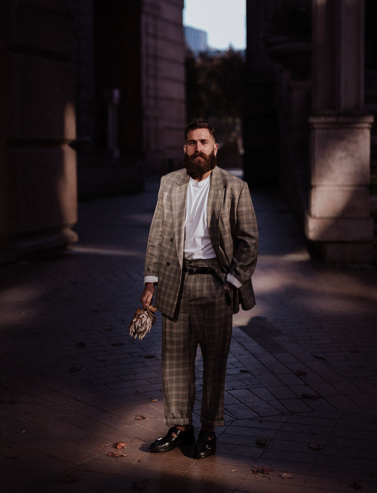 grooms plaid suit