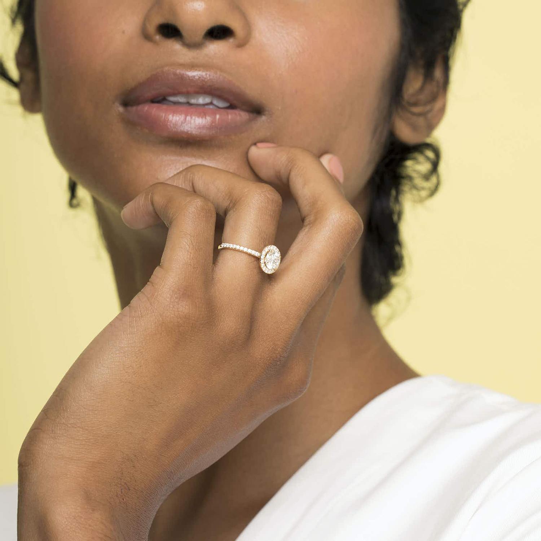 vrai halo pear man made diamond ring