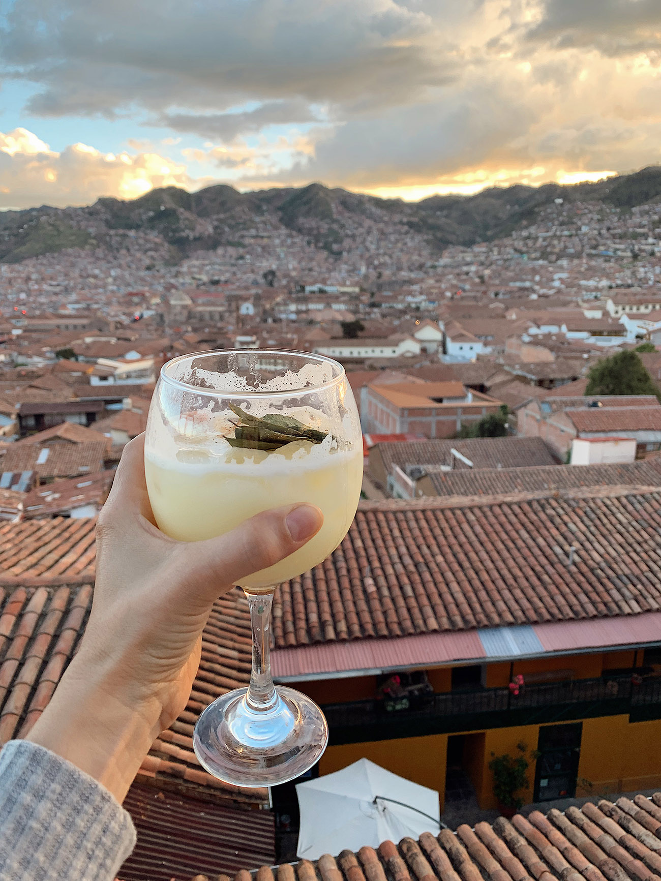 Cusco cocktail at rooftop bar