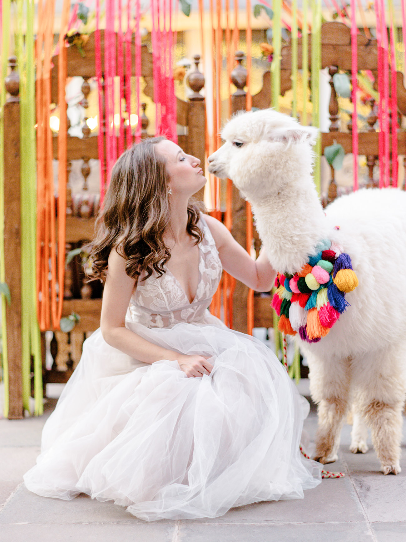 Cusco Wedding at JW Marriott with bride and alpaca