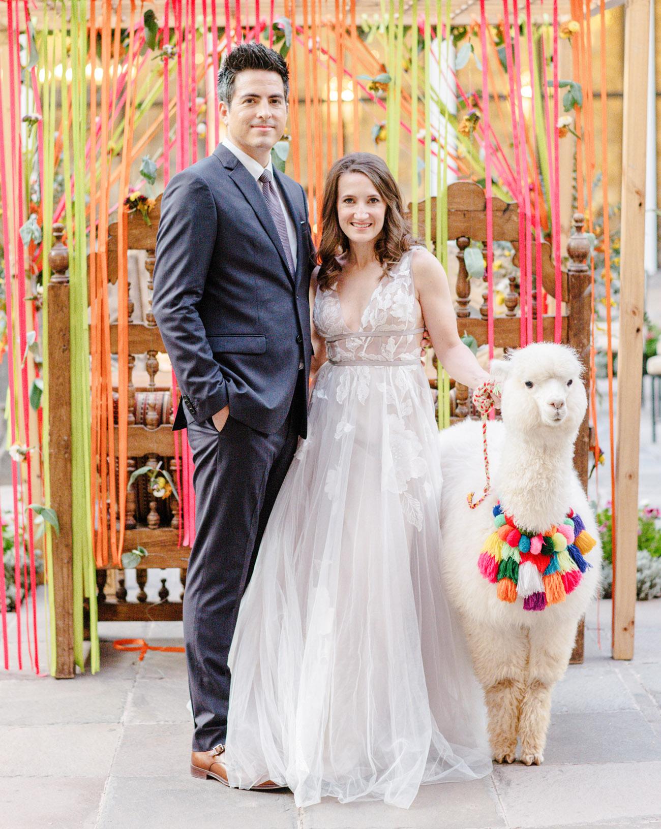 Cusco Wedding at JW Marriott with bride, groom and alpaca