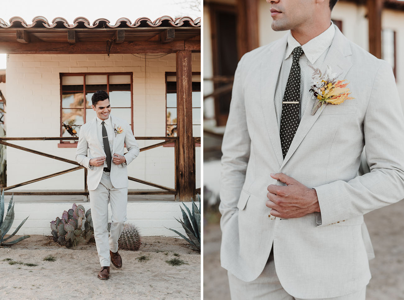 light colored groom suit