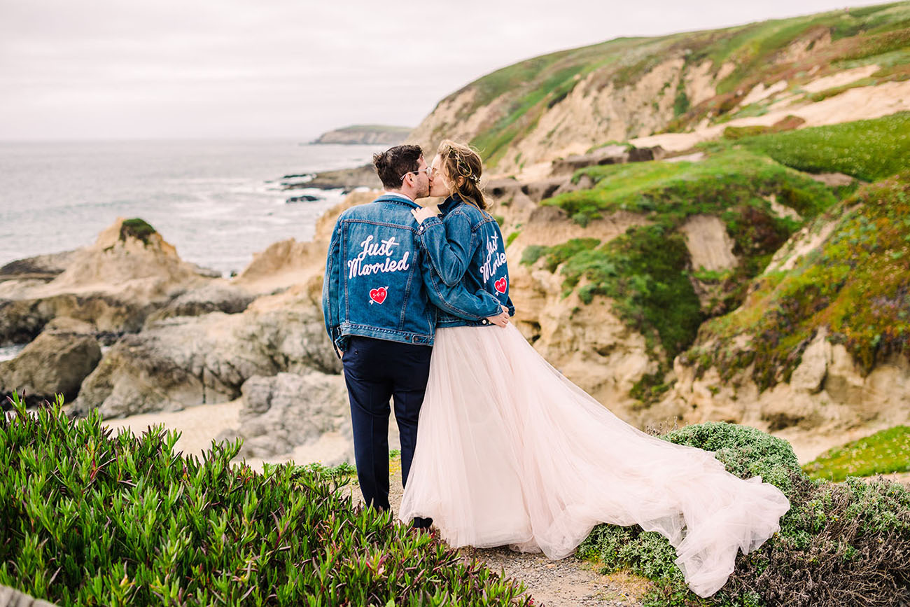 newlyweds in matching jean jackets Julie Shuford Photo
