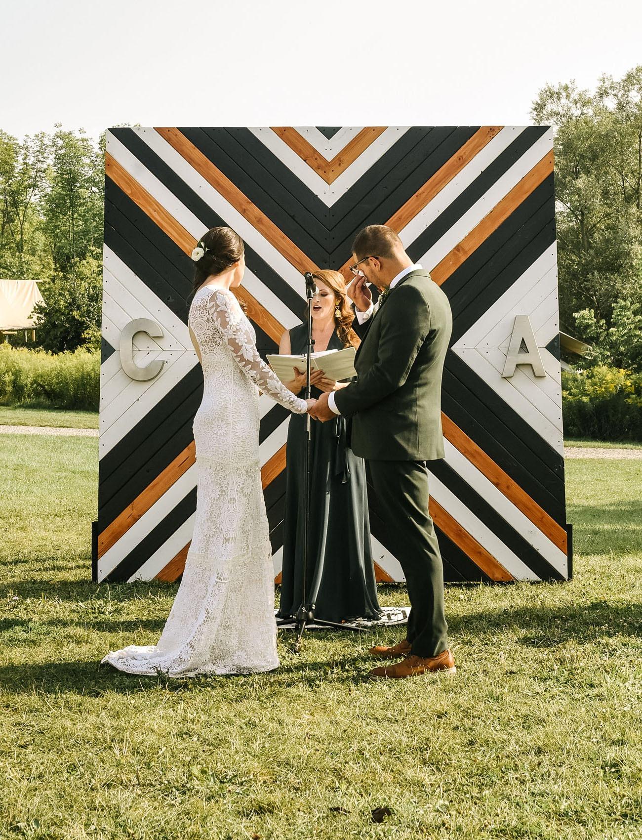 geometric wood DIY wedding backdrops