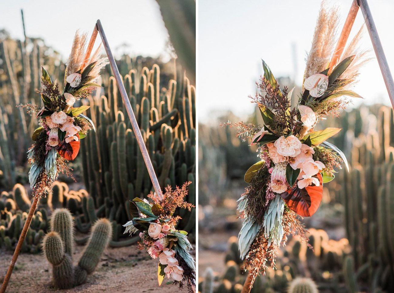 copper piping triangle arch DIY wedding backdrops