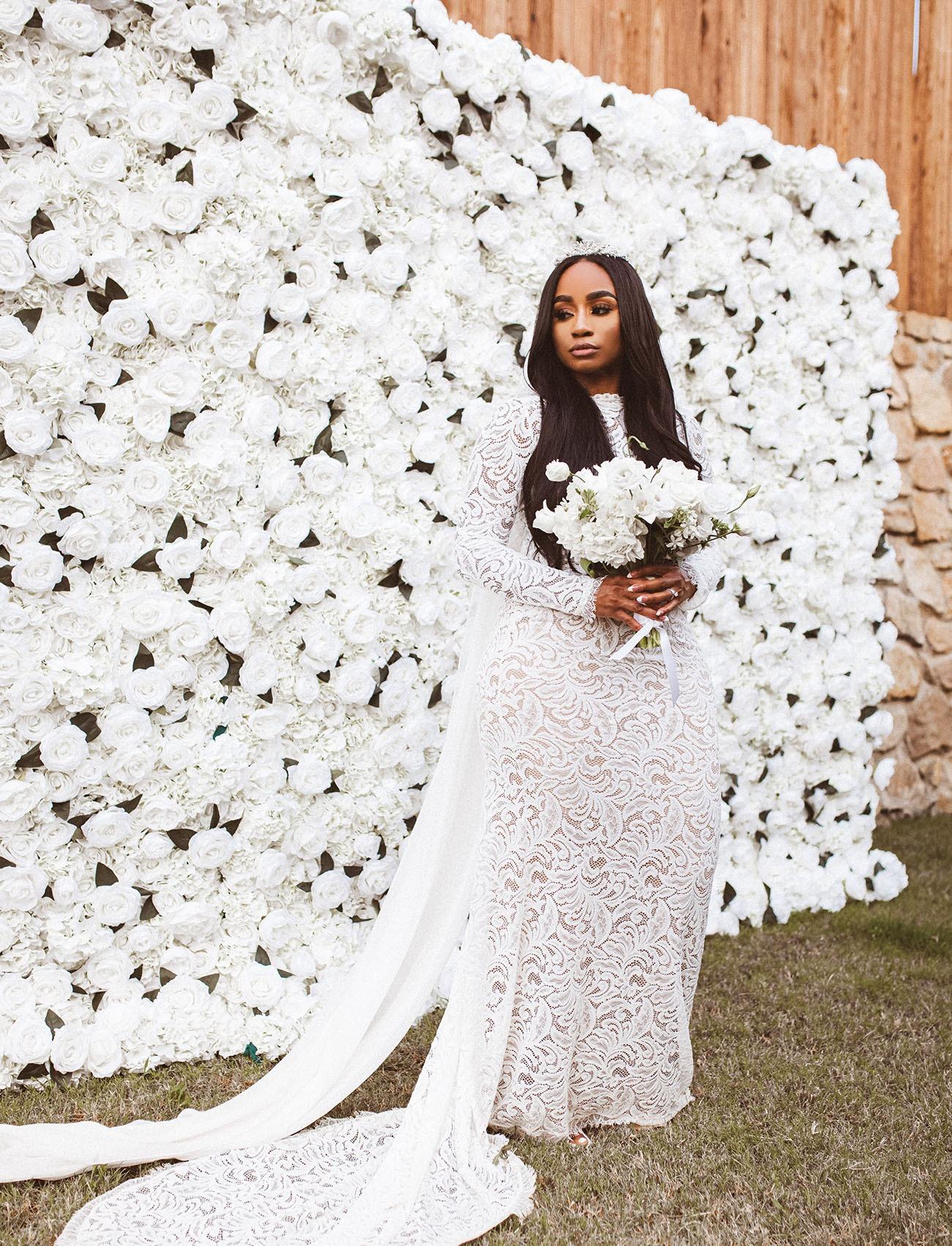 floral wall DIY wedding backdrop idea