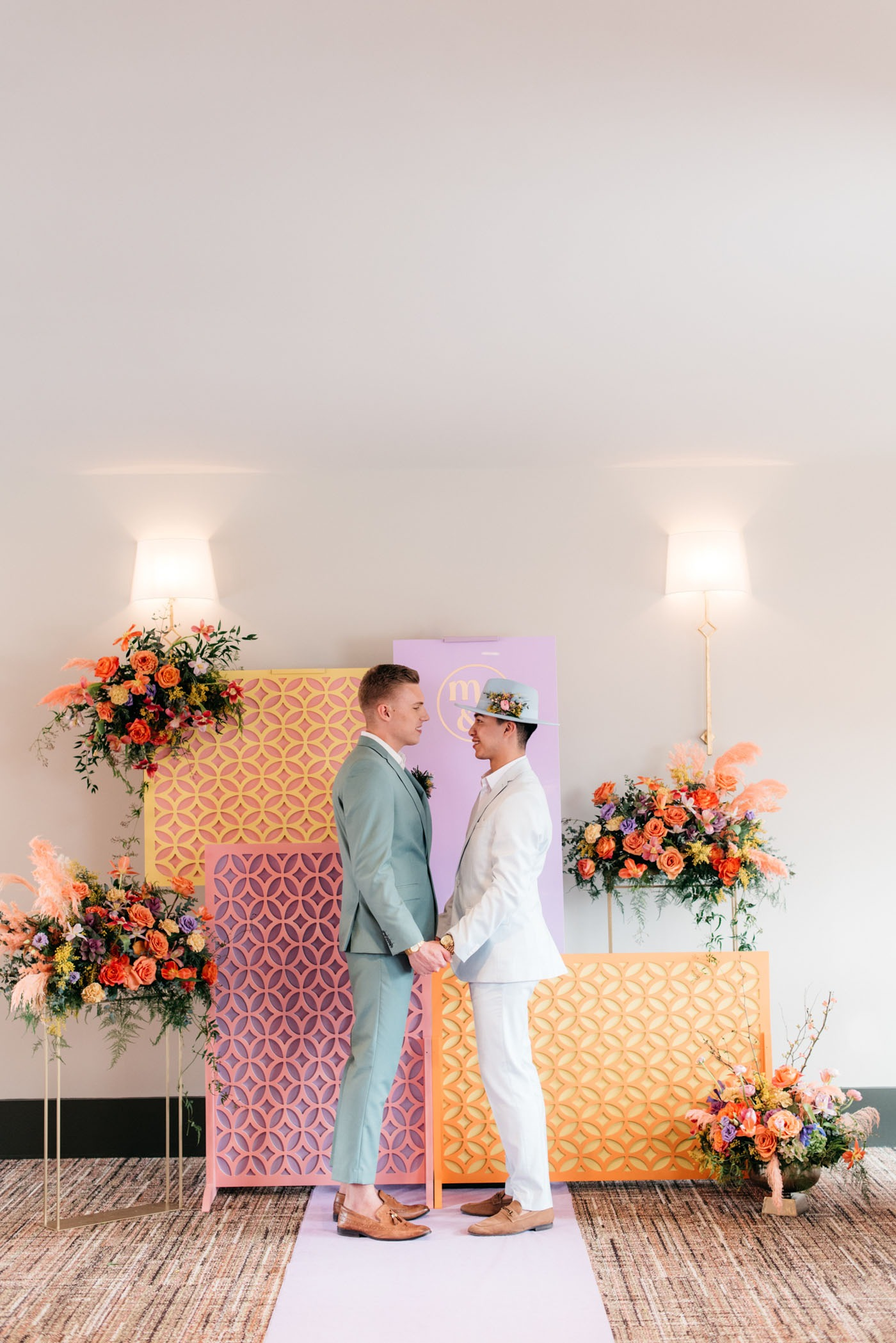 colorful pastel wood cutout wedding backdrops