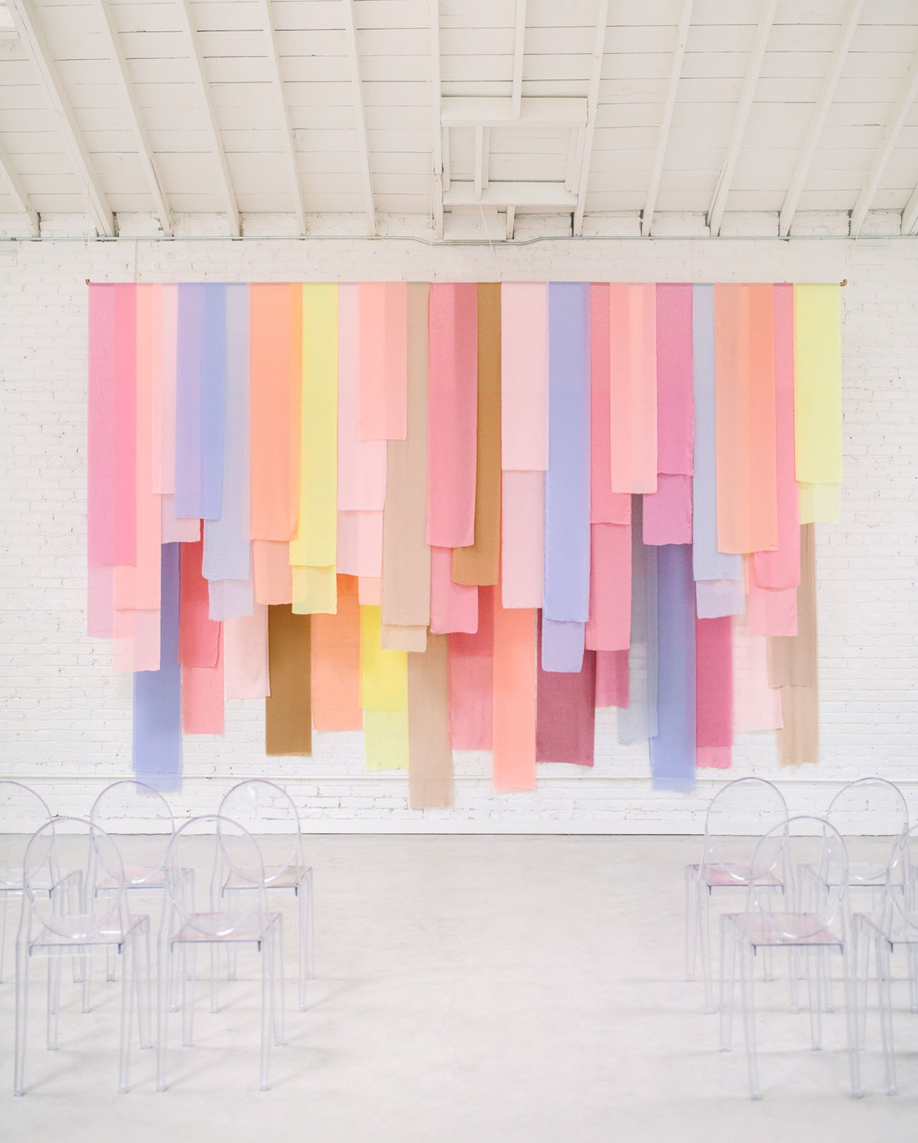 pastel silk colorful ribbon DIY wedding backdrops