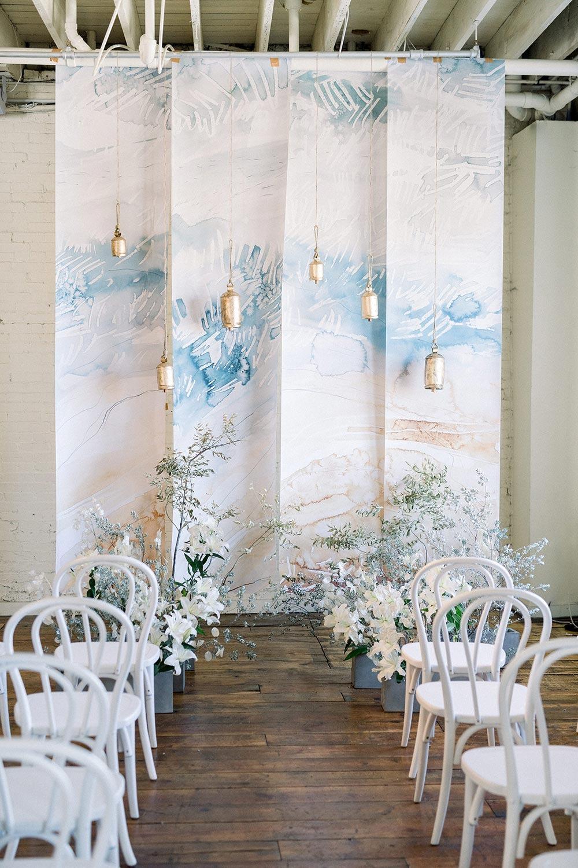 pastel mural DIY wedding backdrop ideas