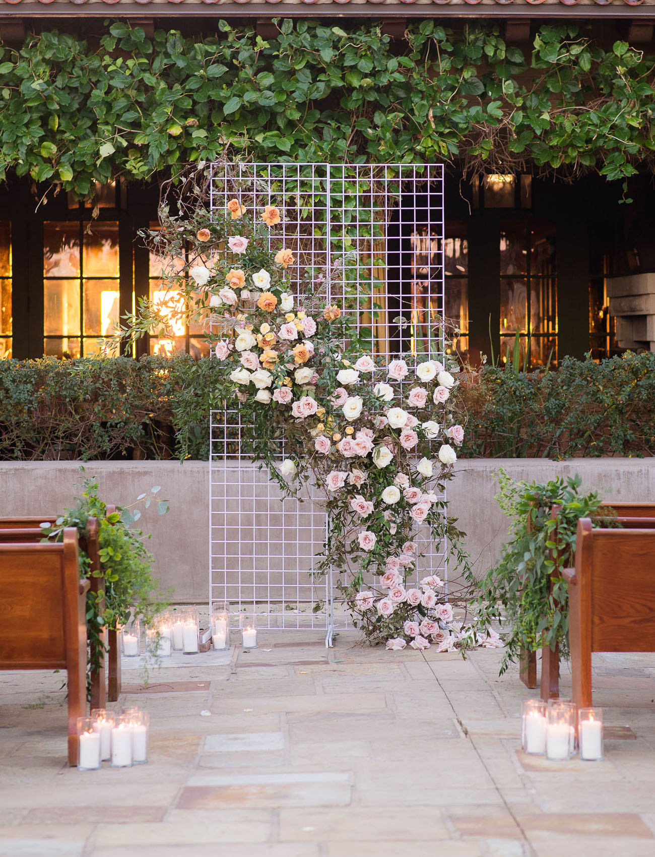 floral grid DIY wedding backdrop inspiration