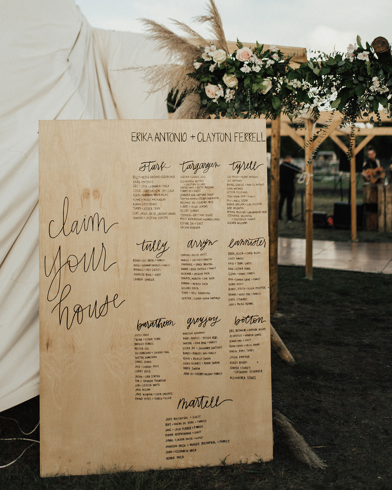 Game of Thrones wedding seating chart