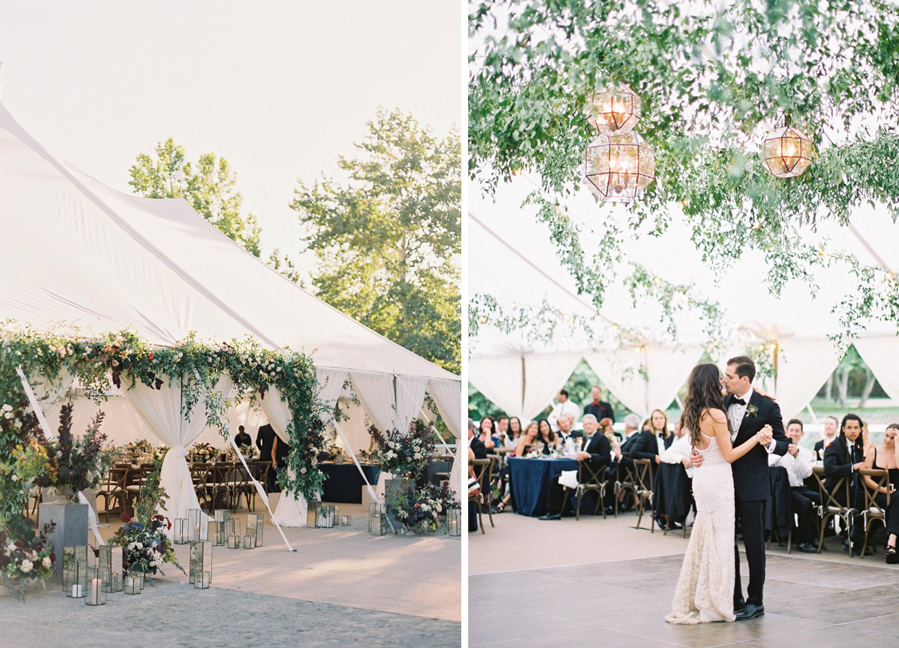 Organic Wedding Florals in a Tent