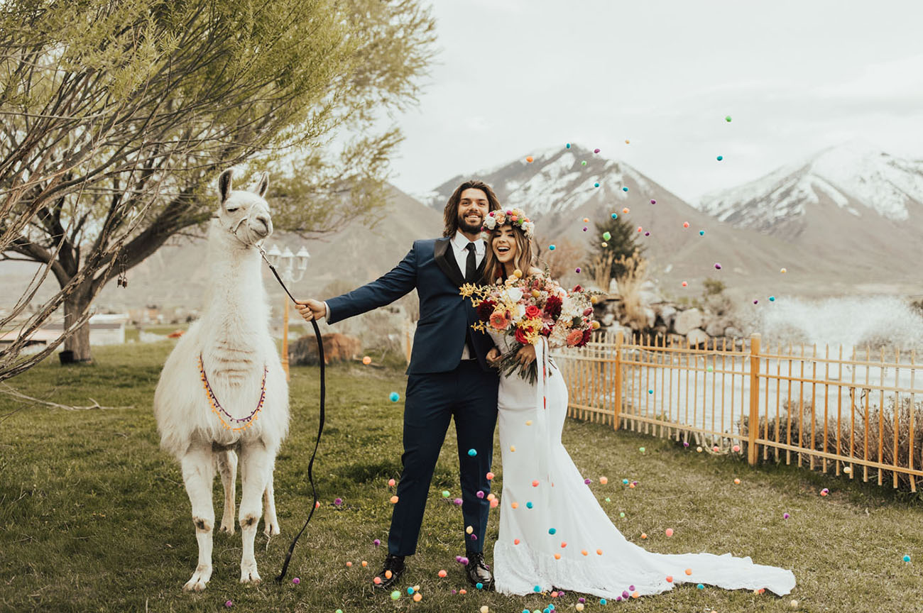 For the Love of Llamas: A Peruvian-Inspired Wedding Editorial with Tons of Color!