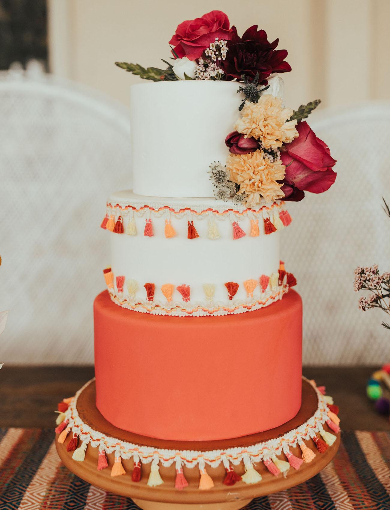 colorful tassel wedding cake