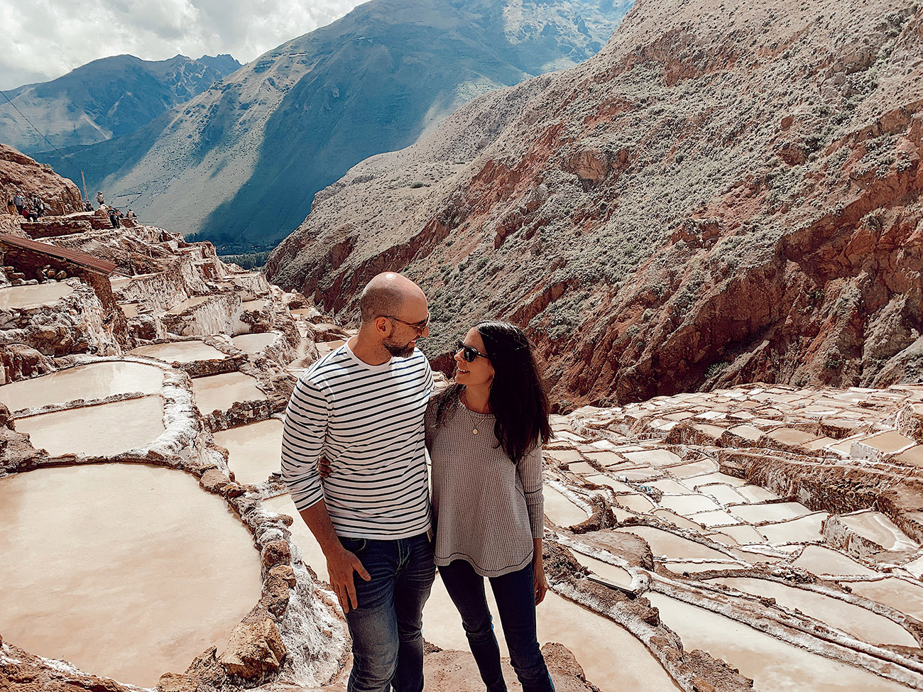 Couple at the Maras Salt Mines in Peru