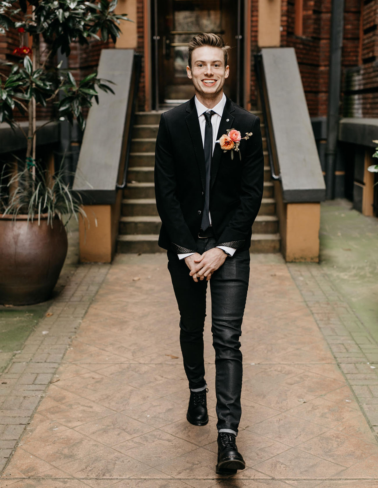 black jacket groom
