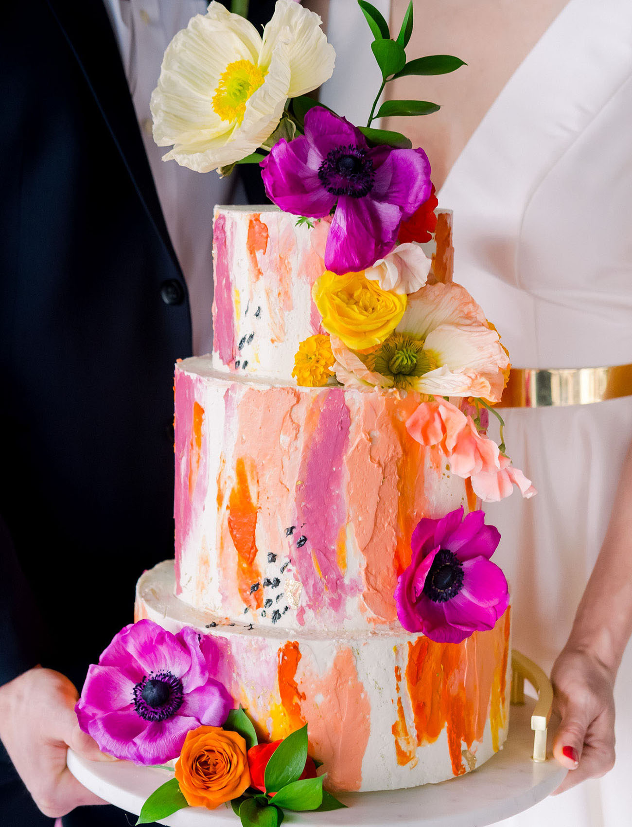 painted watercolor wedding cake
