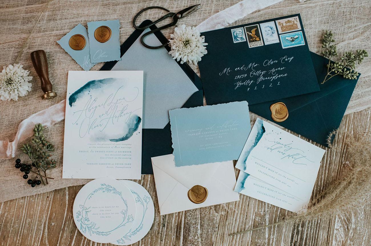 indigo wedding invitation