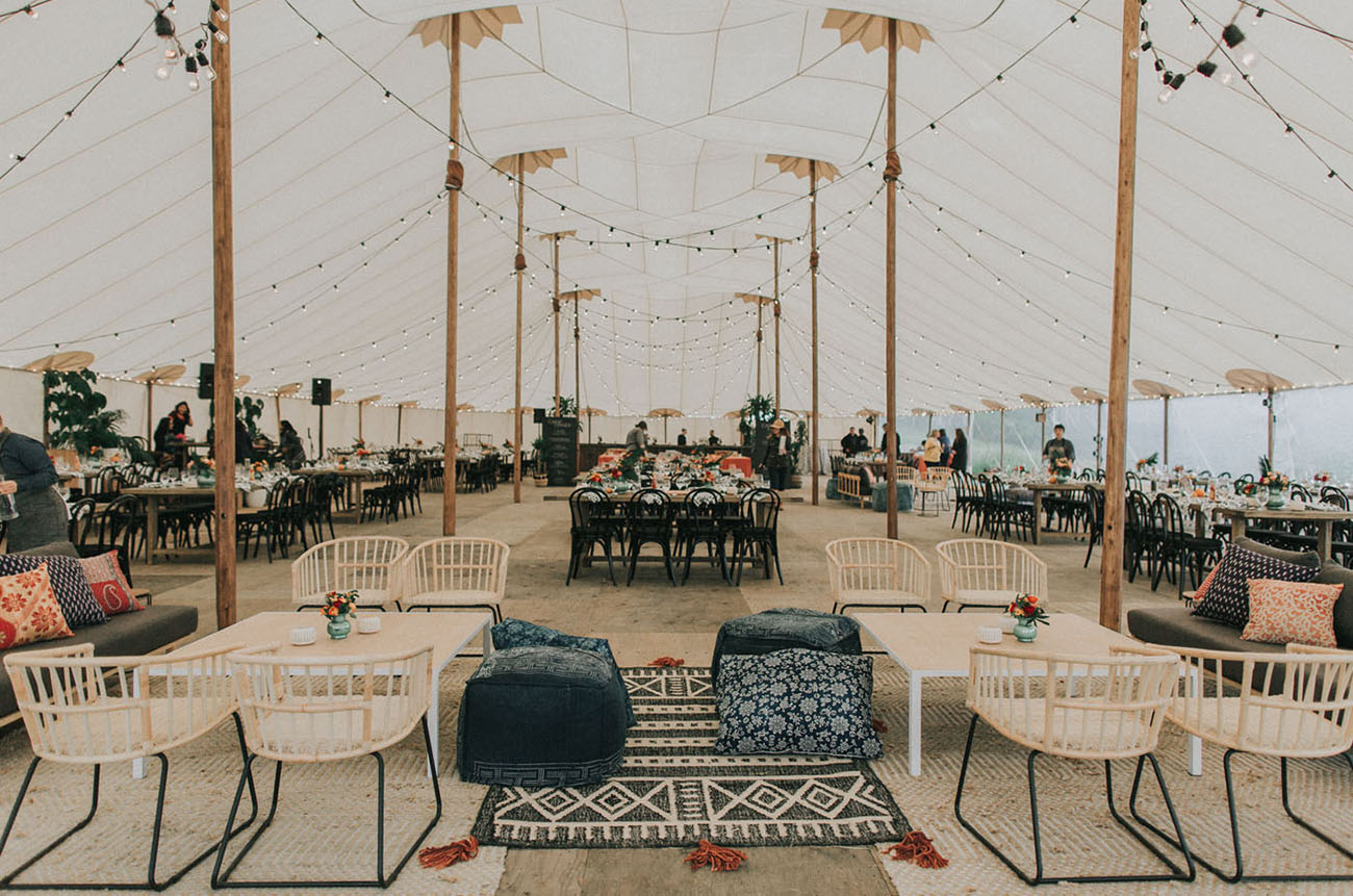 camp wedding tent reception