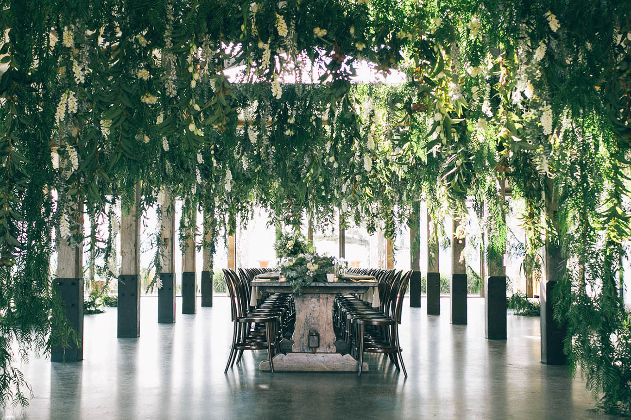 greenery ceiling wedding reception