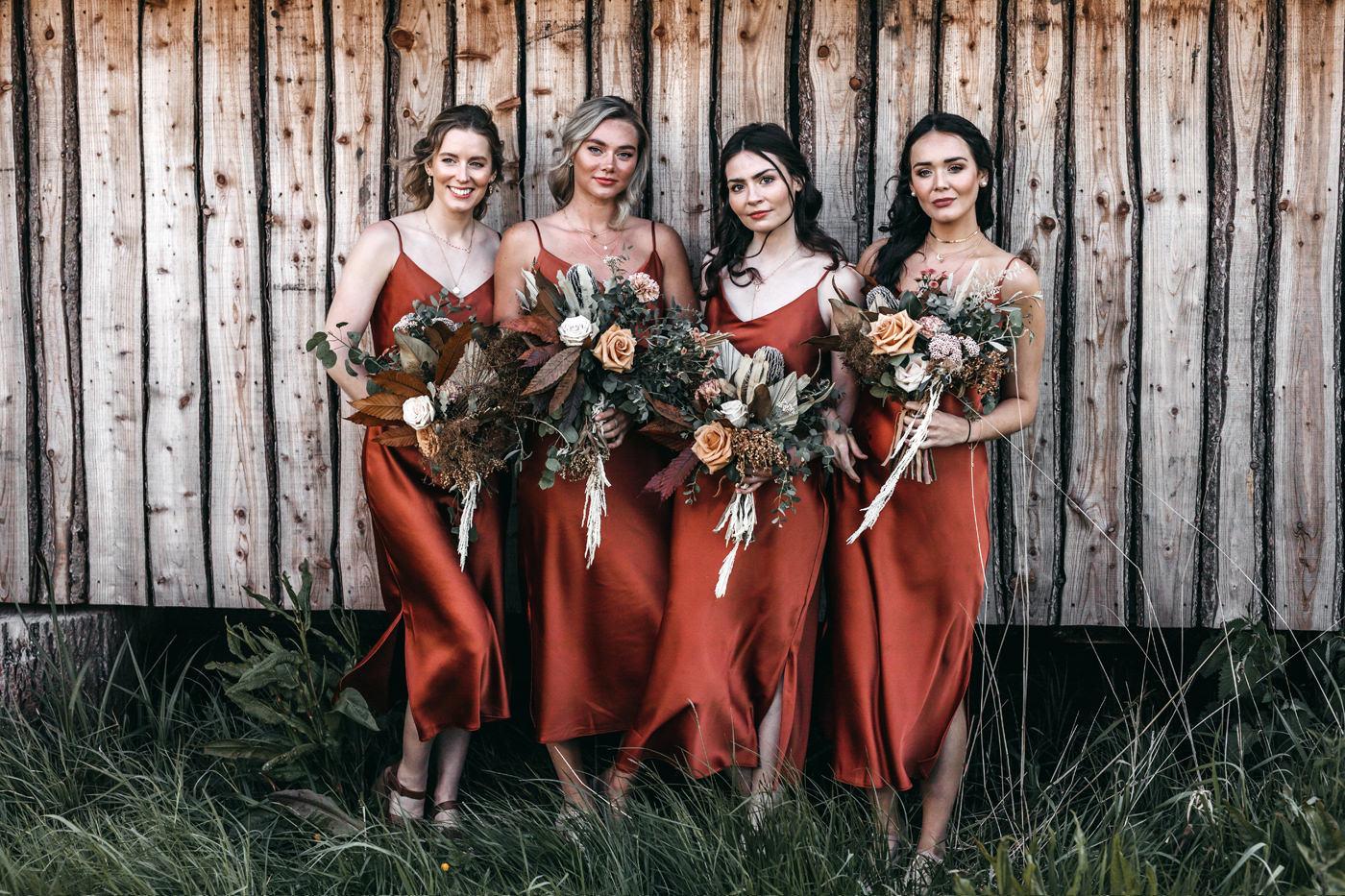 burnt sienna bridesmaids