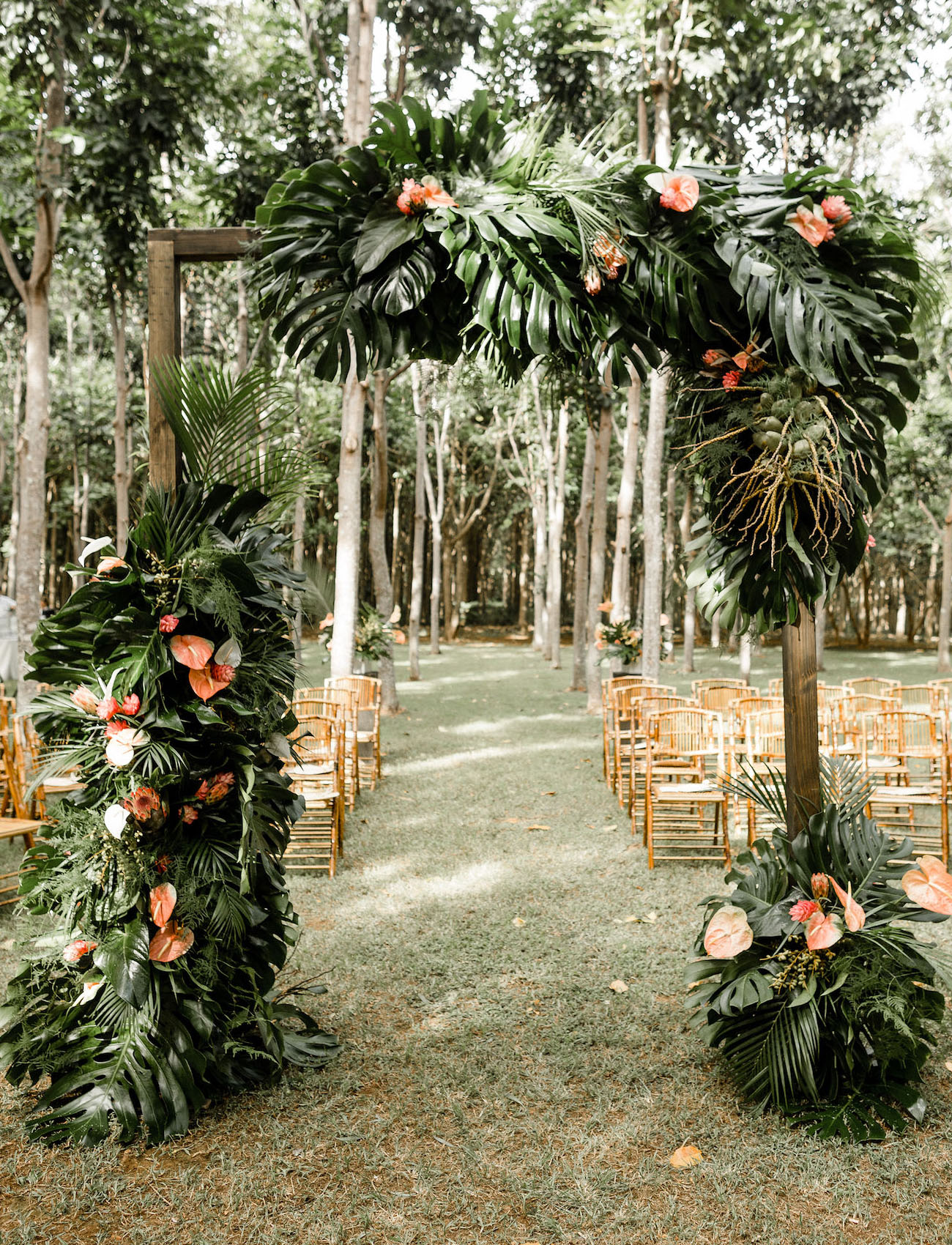 tropical floral circular ceremony arch