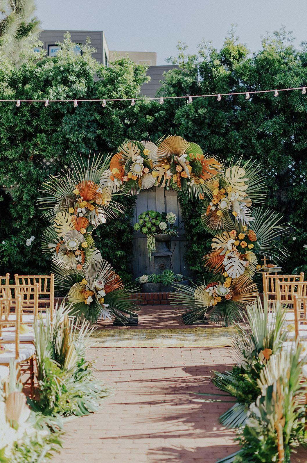 topical floral wedding backdrop