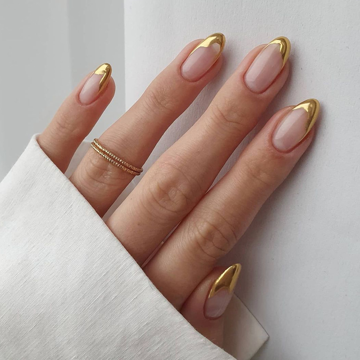 bridal nail inspo with gold tips