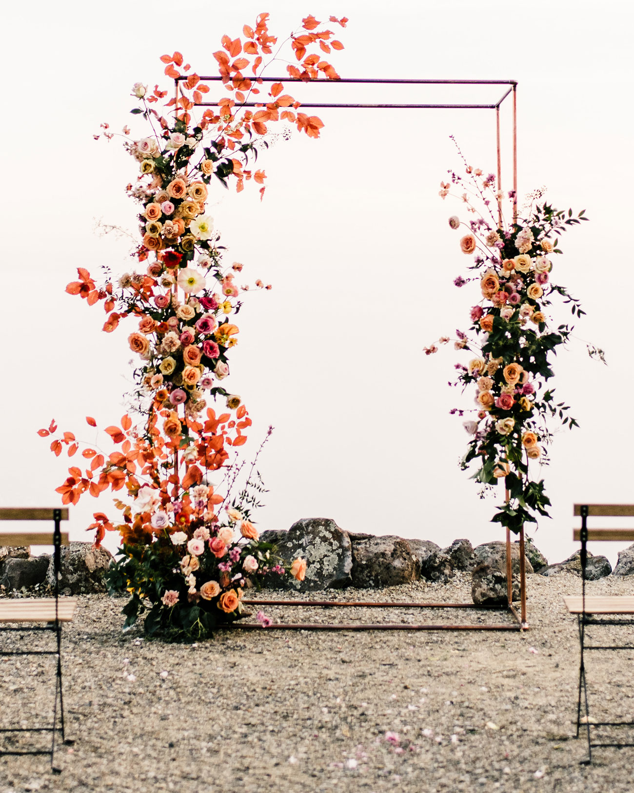 modern floral backdrop installation