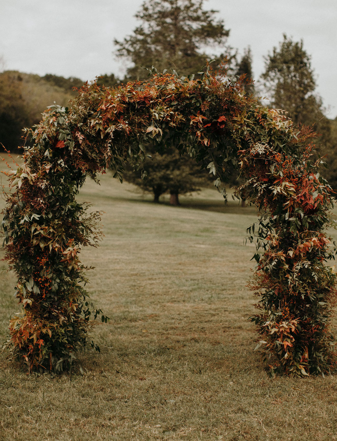 fall foliage wedding arch