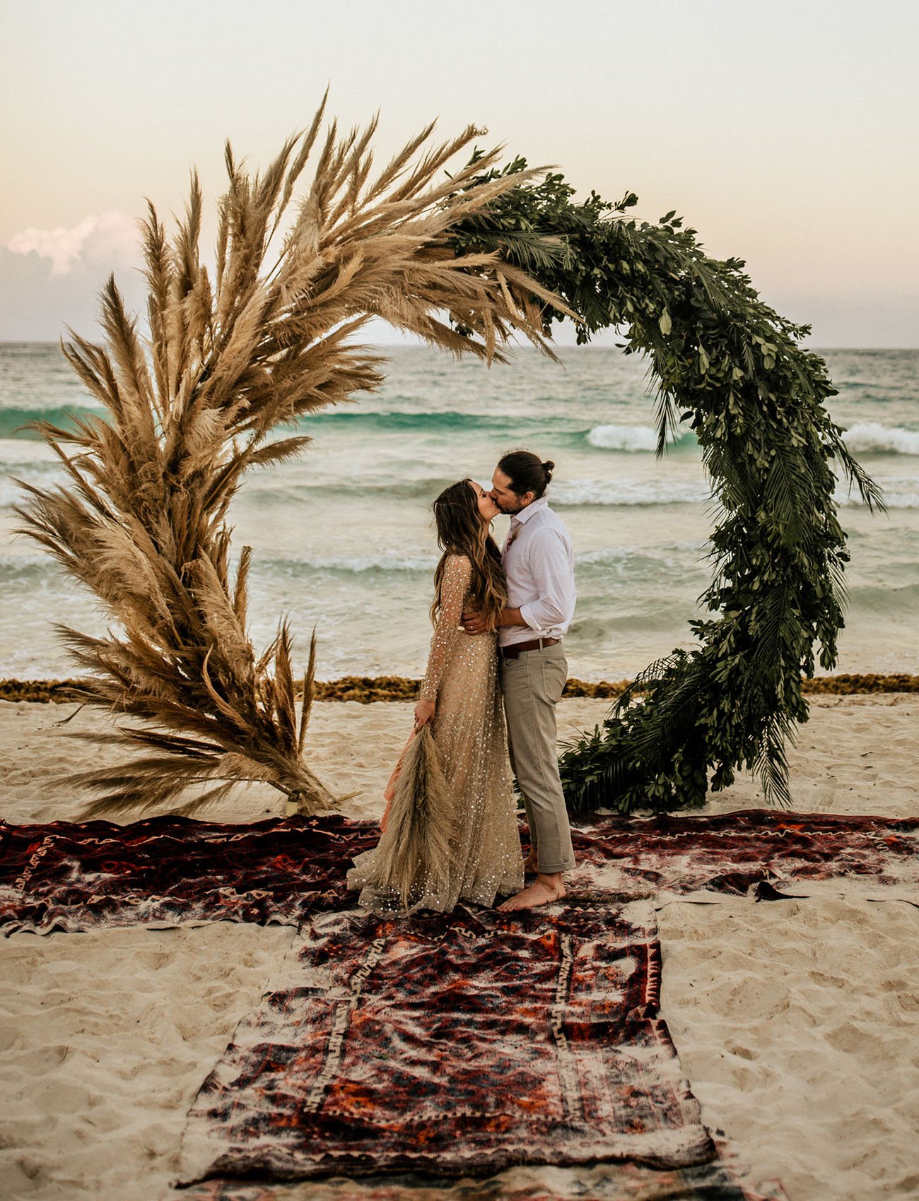 beachside wedding floral arch