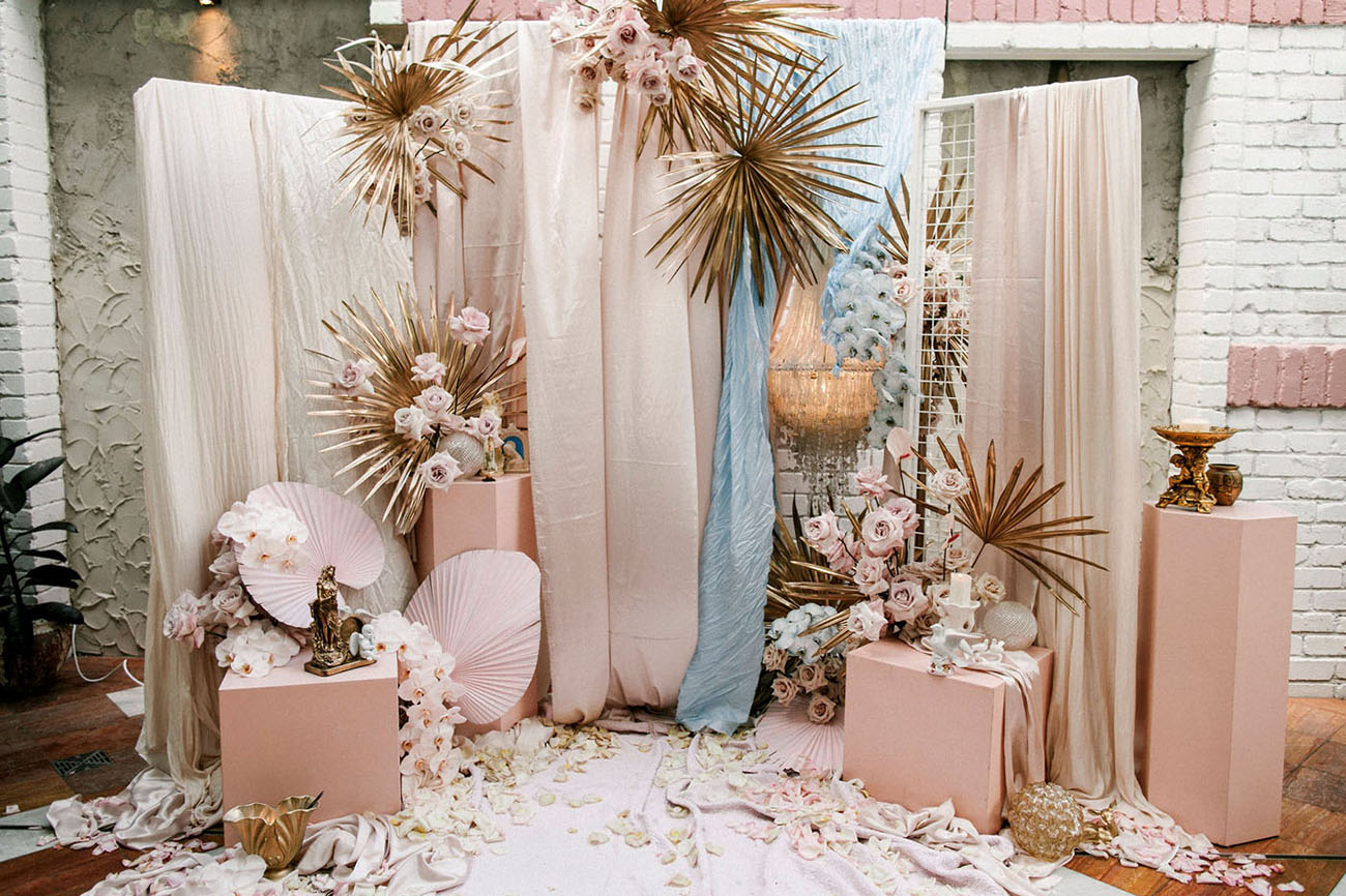 modern pink ceremony backdrop