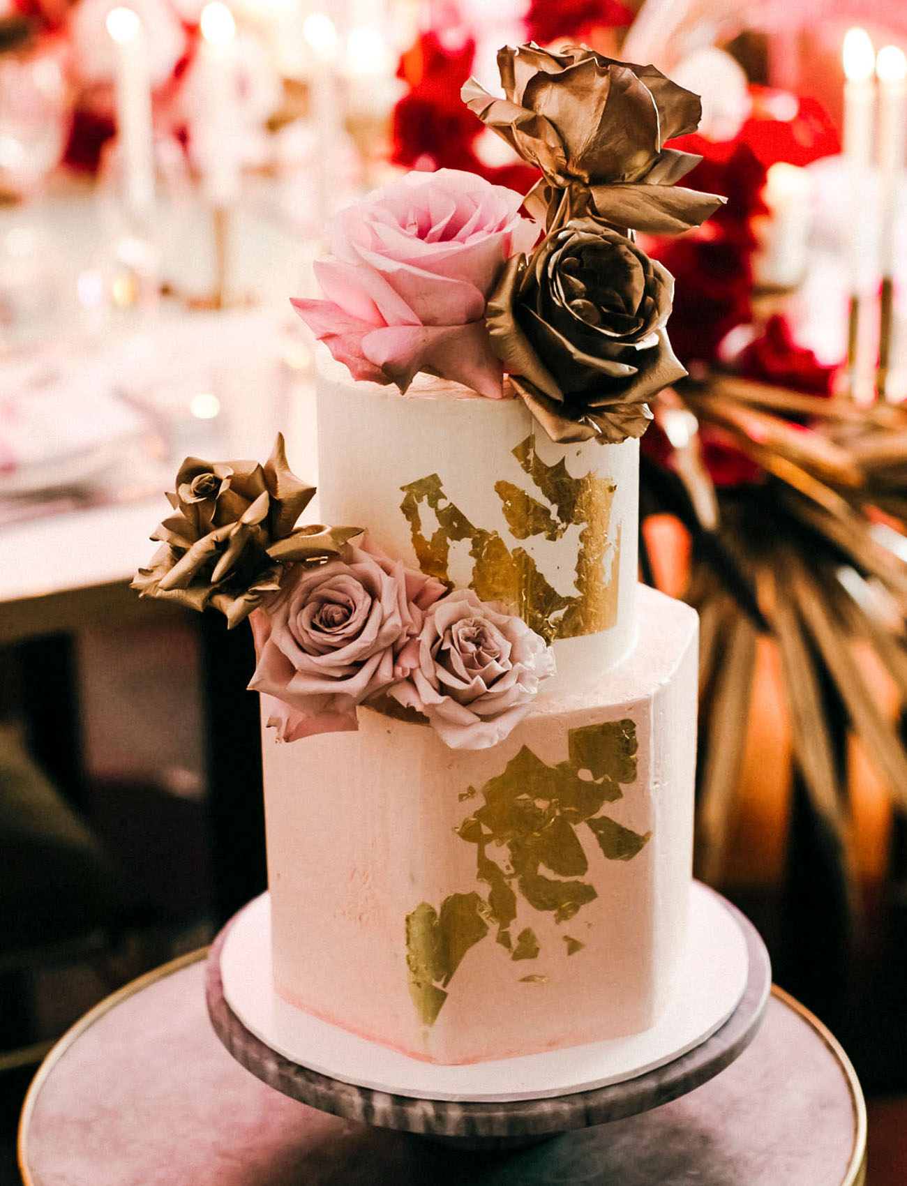 gold foil wedding cake